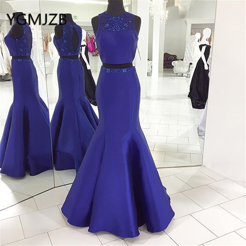 Gala Jurken 2019 Two Pieces   Prom     Dresses   Long Mermaid Beaded Crystal Satin Saudi Arabic Women Formal Evening Gown Party   Dress