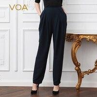 VOA тяжелый шелк плюс Размеры Свободные Базовая офисная наклонных кармана шаровары краткое сплошной Темно синие середине возрасте Для женщи