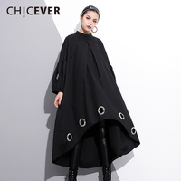 CHICEVER 2018 Spring Black Hollow Women Dress Female Long Sleeve Loose Big Size Asymmetrical Dresses Clothes