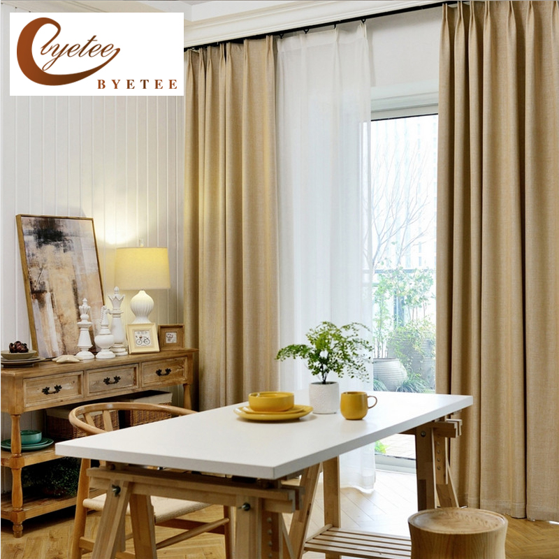 {Byetee} Window Solid Color Curtain Faux Cotton Linen Blackout Bedroom Kitchen Curtains For Living Room Door Curtain Drapes