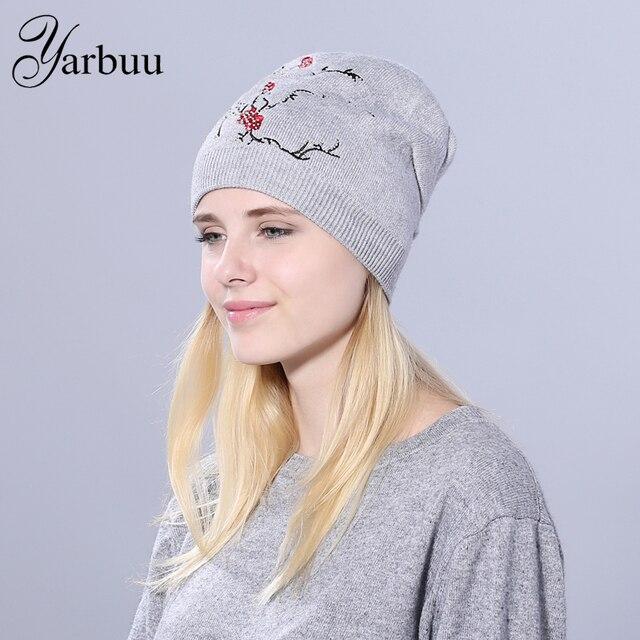 [Yarbuu] Для женщин зимняя шапка вязаная новинка, шерстяная шапочка с цветами и стразами Шапки для Для женщин шапочки Балаклава Для женщин s Skullies