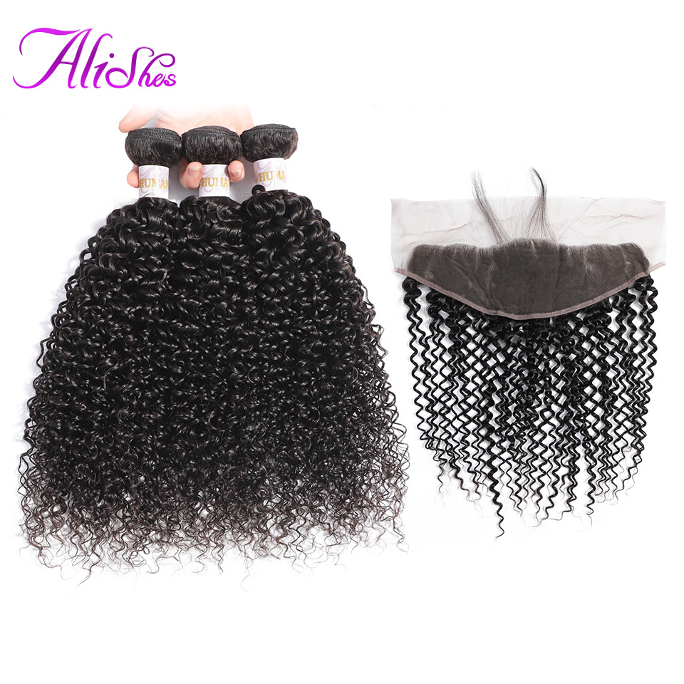 Alishes Mongolian Kinky Curly Bundles With Frontal Closure And Bundles Human Hair 3 Bundles With Ear