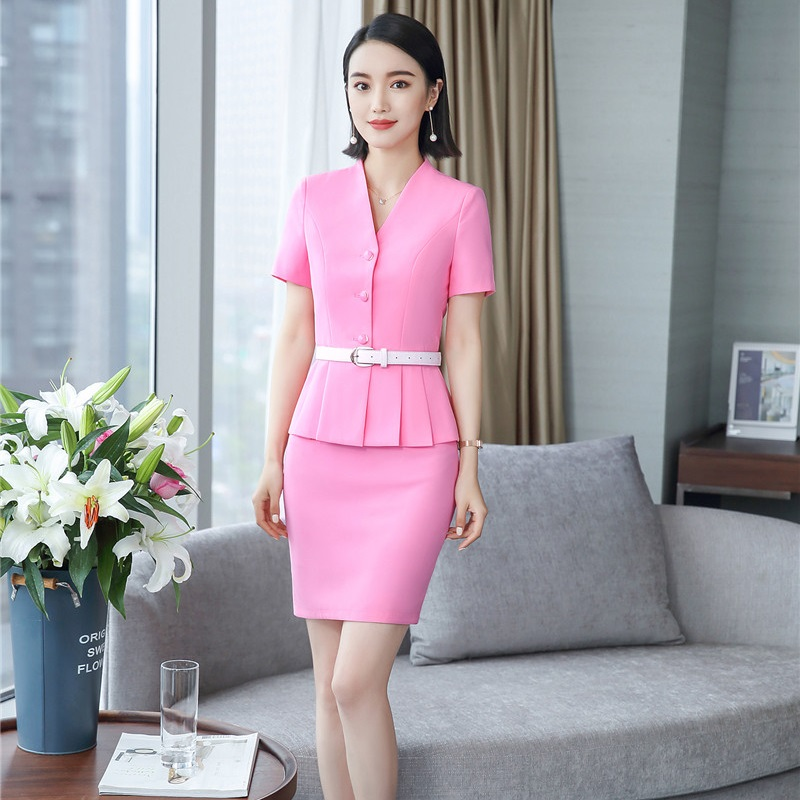 Fashion Pink Two Pieces With Tops And Skirt Uniform Styles Business Suits For Ladies Office Work Wear Blazers Sets With Belt