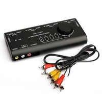 Práctico interruptor de Audio y vídeo AV, conmutador de señal de Audio y vídeo, 4 entradas, 1 salida, con cable RCA para REPRODUCTOR DE JUEGOS DE TV