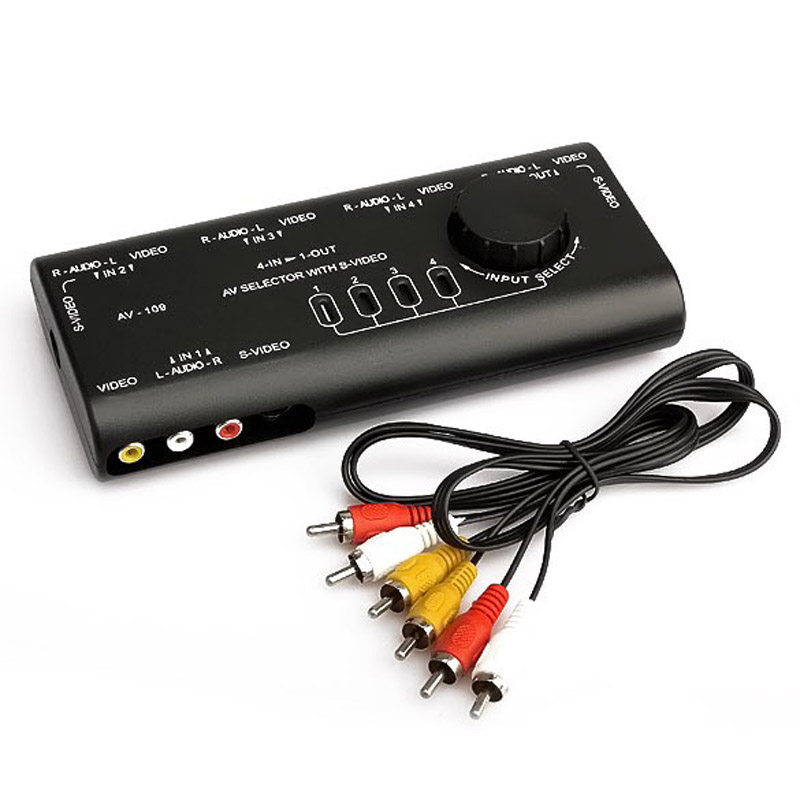 Interruptor video audio prático do sinal de áudio av switcher 4 entrada 1 interruptor de saída com cabo rca para o jogador do jogo da tevê