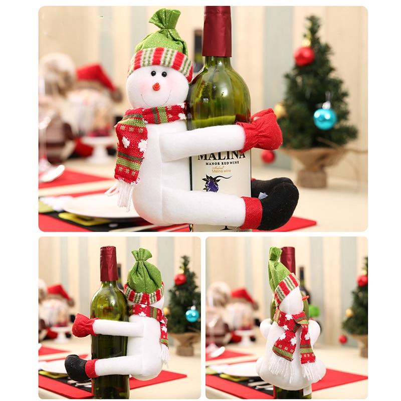 Cubierta de la Botella de Vino rojo de Papá Noel Muñeco de Nieve de ...