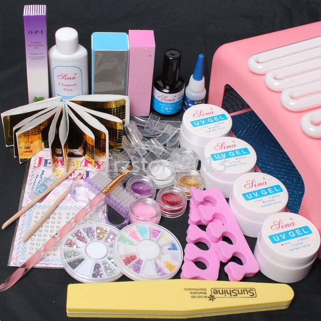 ФОТО N-115  High quality Pro 36W UV Dryer Lamp Curing Files Sanding False Nail Art Tips Gel Tools DIY Set nail art tool