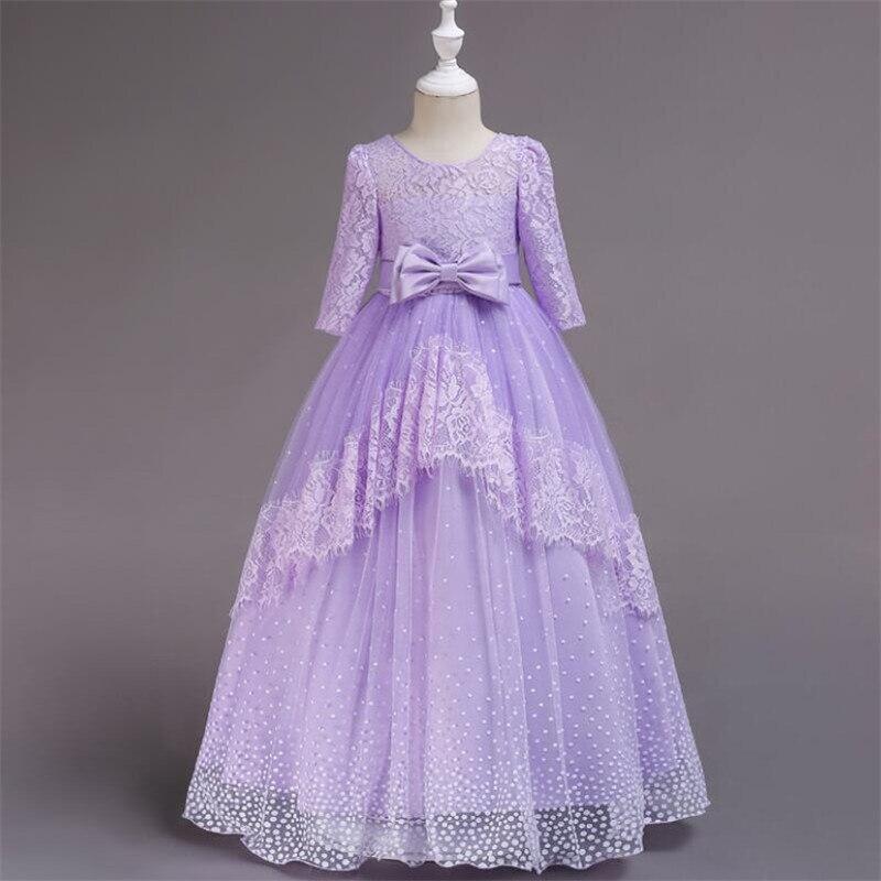 BINGBINGZAI été dentelle longue Tulle adolescente robe de soirée élégant enfants vêtements enfants robes princesse noeud papillon robe de mariée