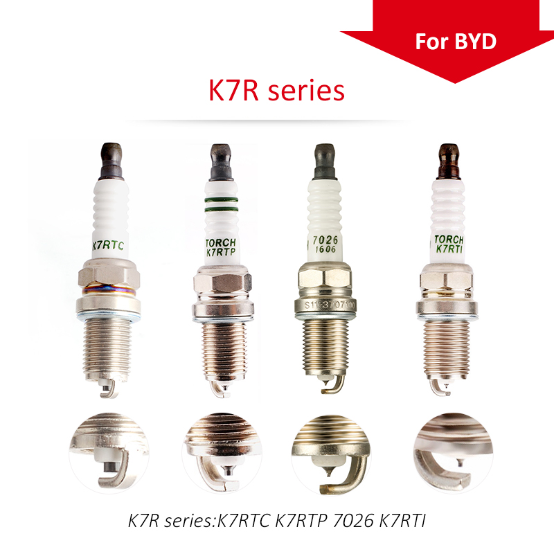 4pcs/lot China original TORCH  spark plugs K7R for BYD F3 1.5 4G15S BYD473QE;F3 1.6 4G15S; S6 2.0 BYD483QB ,etc.