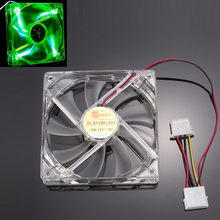 Mokingtop 120 x 120 x 25mm 2018 Mini Cool Fan Green Quad 4-LED Light Neon Clear 120mm PC Computer Case Cooling Fan Mod#25(China)