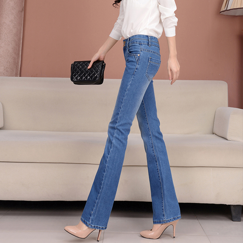 a11447c3f0a930 New arrival spring flares female jeans slim show body women's Bell bottom  jeans fashion elastic fit denim women trousers-in Jeans from Women's  Clothing on ...