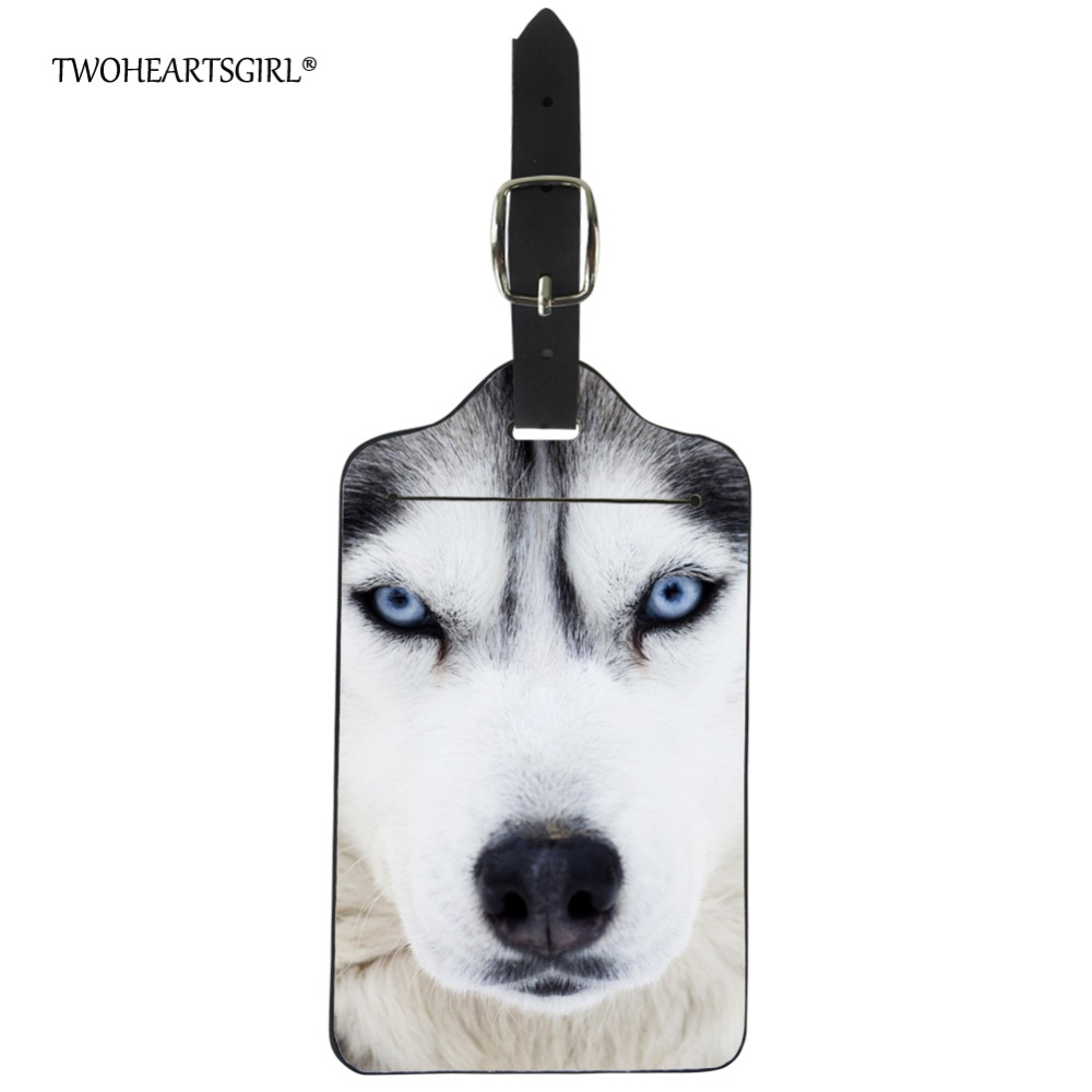 Twoheartsgirl Cool 3d Animal Husky Luggage Tag Classic Leather Boarding Label Straps Suitcase Name Address Id Holder For Travel