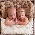 Fibra de lana Crochet manta de bebé de punto grueso bebé relleno cesta Newborn fotografía atrezzo bebé H215