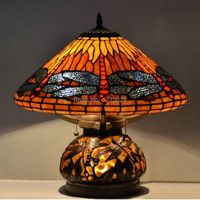 Antique Tiffany Style Dragonfly Double Lit Stained Glass Table Lamp Living Room Bedroom Light