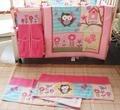 Baby Girl Impressão bordado Coruja Pássaro Cor de Rosa de algodão cama incluir saco de Urina 8 pcs Saia da cama Equipada colcha Pára fundamento do bebê conjunto