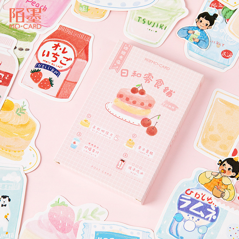 30 Pcs/pack Kawaii Japanese Snack Shop Series Greeting Card Postcard Birthday Letter Envelope Gift Card Set Message Card