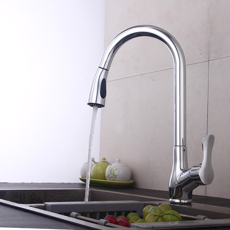 New High-grade Copper Pull Out Hot And Cold Faucet 360 Rotating Faucet Chrome Swivel Kitchen Sink Mixer Tap Kitchen Faucet Lt11 стоимость