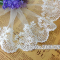5-10Yards width 11cm white cotton wire embroidered lace fabric , DIY handmade lace materials, clothing accessories lace RS112