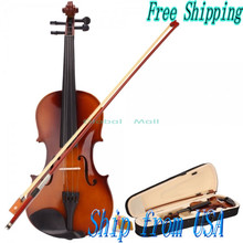 Ship From USA New Full Size High Quality 4/4 Natural Acoustic Violin & Case & Bow & Rosin for Violin Beginner Y00326
