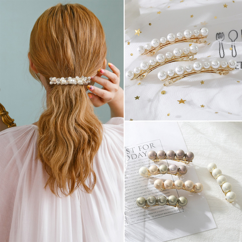 2019 New Vintage Fashion Women Pearls Hair Clip Bangs Barrettes Hairpin Alloy Headwear Hair Styling Accessories For Women Girls|Hair Clips & Pins| - AliExpress