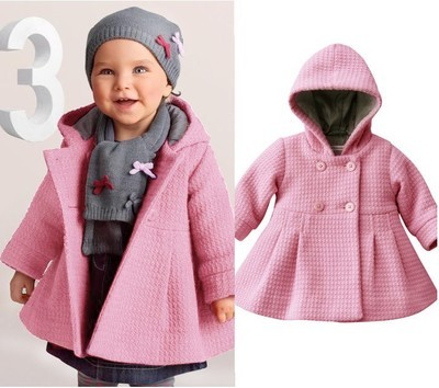Alta Qualidade Moda Bebê Casaco de Inverno do Outono do Algodão Forro Jacquard Casaco crianças outwear crianças roupas de bebê menina casaco rosa pura