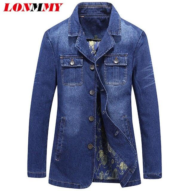 8e9a03696ca LONMMY Джинсовые пиджаки мужские костюмы хлопок Повседневное Блейзер  мужские джинсы Куртки стройная фигура Верхняя одежда Пальто
