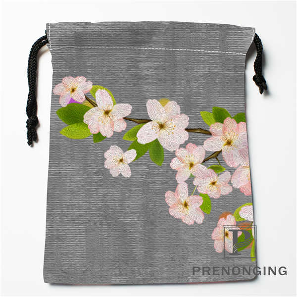 Custom Chinese Flower Drawstring Bags Printing Fashion Travel Storage Mini Pouch Swim Hiking Toy Bag Size 18x22cm #171203@1-08
