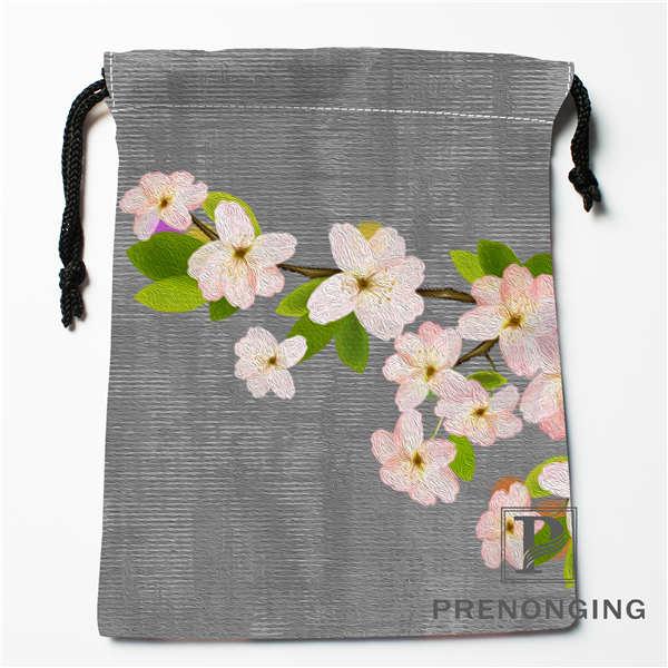 Custom Chinese Flower Drawstring Bags Printing Fashion Travel Storage Mini Pouch Swim Hiking Toy Bag Size 18x22cm #171203@1-08