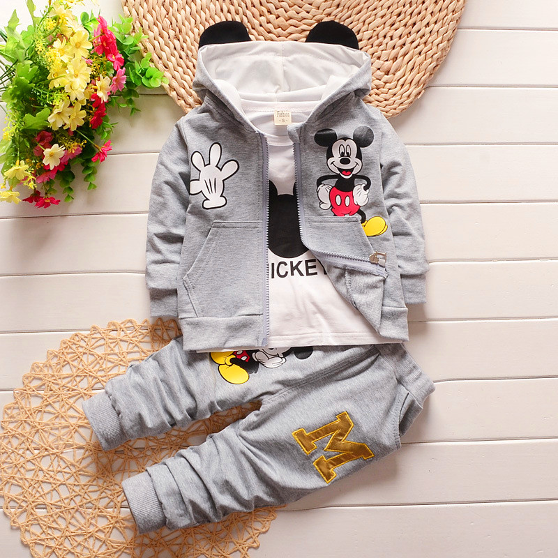 2016 winter children's clothing set kids Cartoon Mickey T-shirt hoodie coat + pants 3pcs suit baby boy cotton set 1-5years