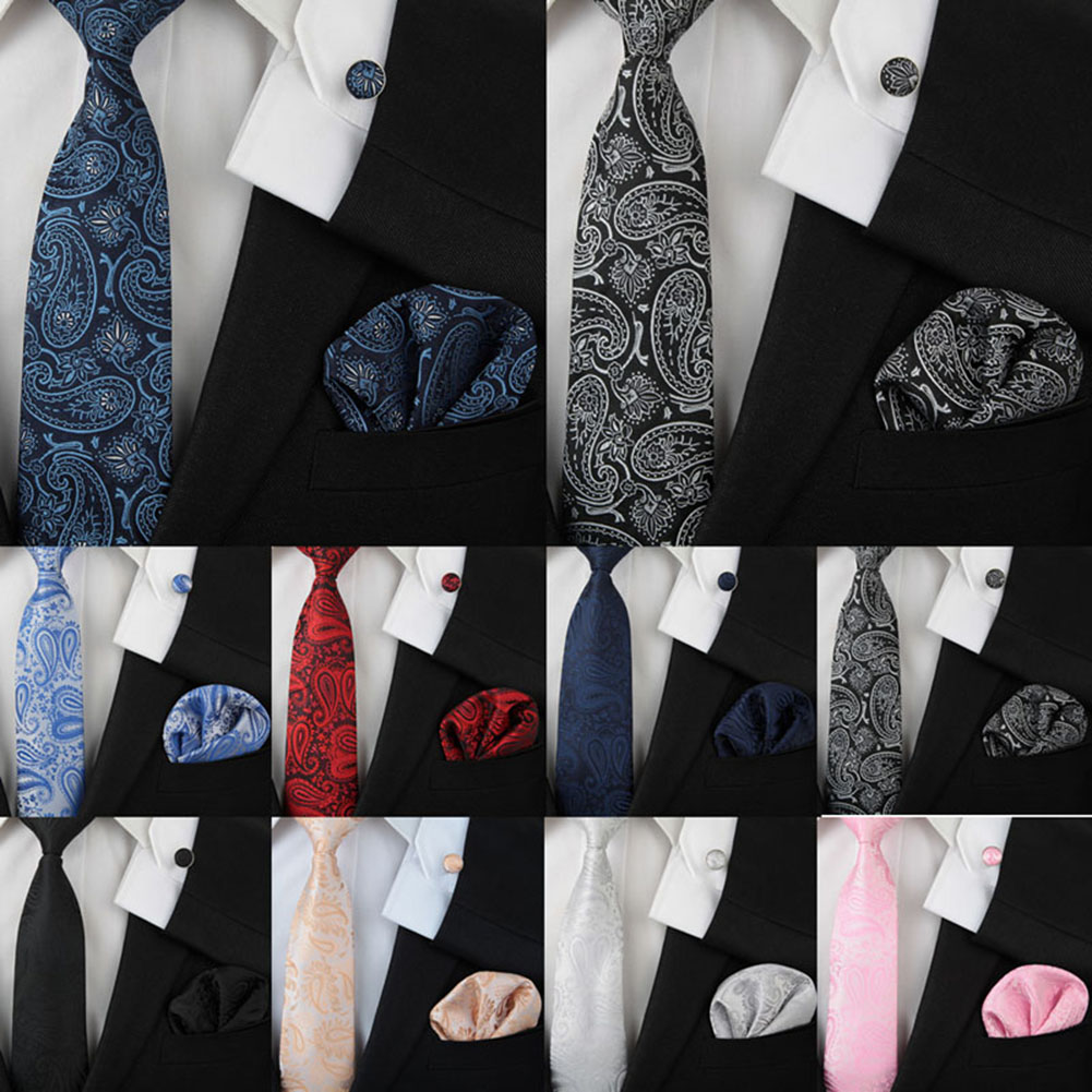 1 Set For Wedding Cufflinks And Handkerchief Paisley Jacquard Formal Men Silk Necktie Tie Three-piece Suit  Fashion Print Men