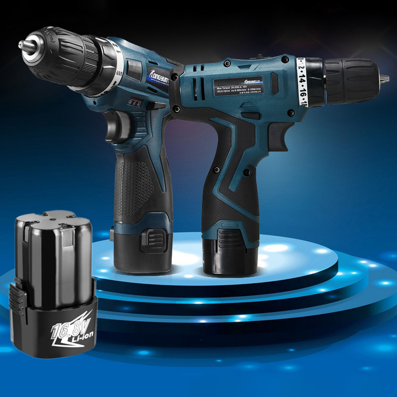 16.8V Electric Screwdriver Power Tools Cordless Electric Drill Multi-function Double Speed Rechargeable Lithium Battery DIY 12v 1300rpm electric screwdriver li battery rechargeable multi function 2 speed cordless electric drill power tools box