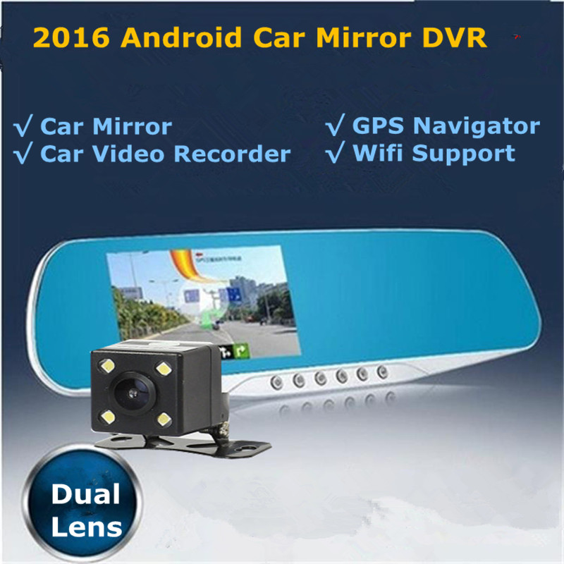 New 5 Android Touch Rearview Mirror Car DVR Parking Dual Lens Car Video Recorder Full HD 1080P Car Camera GPS Navigator Wifi 2016 new 5 0 touch android bluetooth dash camera parking car dvr rearview mirror video recorder vehicle gps navigator free maps