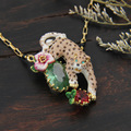 Роскошный Розовый Леопард Цветок Жемчужиной Ожерелье Для Женщин Эмаль Позолоченные Ювелирные Изделия Высокого Качества Новое Прибытие