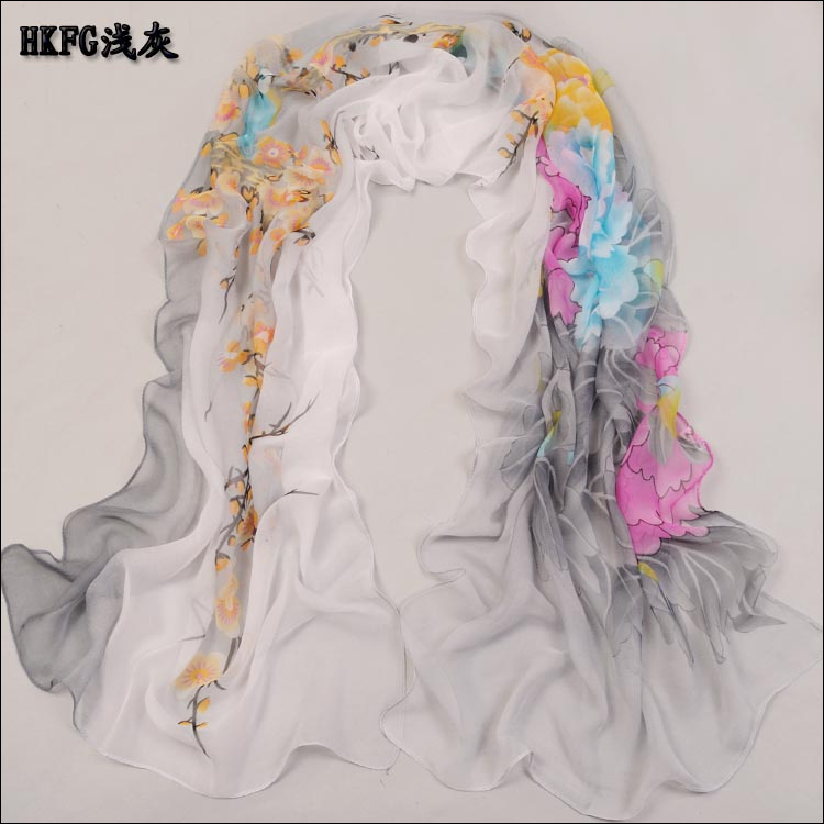 New Arrive Women Scarf Beautiful Flower Print Oil Painting Long Silk Scarf For Women Shawls As Birthday Gift