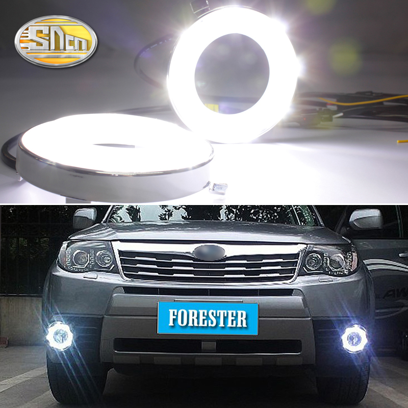 For Subaru Forester 2009 2010 2011 2012,With Blue Turning Singal Waterproof Chromed Car DRL 12V LED Daytime Running Light SNCN цены