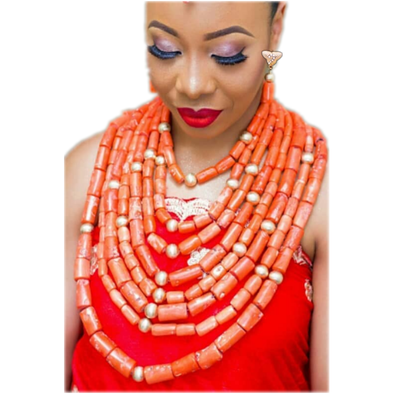 URORU Women Coral Beads Jewelry Set For African Nigerian Wedding Bridal Necklace Earrings Bracelet Set Genuine Coral Free Ship