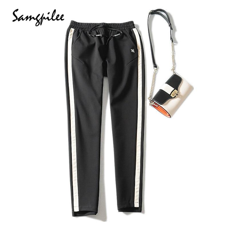 4cea5e9d06 Black 2018 Cintura Lápiz Mujer Elástica Samgpilee Nuevo Plisado 33 Medio  Casual De Pantalones 27 Moda Otoño Rayas longitud Punto Tobillo qqH6ZrWS
