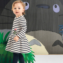 Little maven kids girls fashion brand 2019 autumn baby clothes Cotton toddler girl striped animal applique dresses S0512