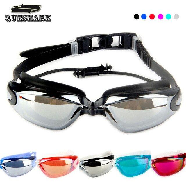 8b629615871a3 Das Mulheres dos homens Galvaniza Profissional Óculos de Natação Tampões de  Silicone À Prova D