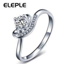 Eleple White Gold Color Ring With AAA Zircon Austrian Crystal For Women Lover Wedding Romantic Finger Rings Jewelry LSR055