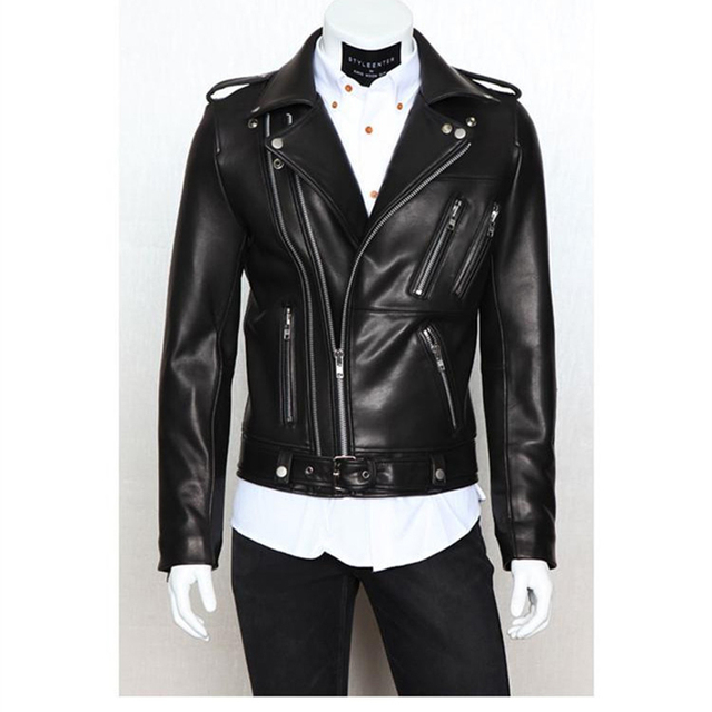 Leather jacket  2016 New PU Zipper Biker Jacket Leather Men's Foreign Trade Jaqueta Couro Good quality  Black Leather Jacket Men