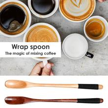Tea Spoons Coffer Tableware Wooden Long-Handle Round Kitchen Home Multifunction Winding