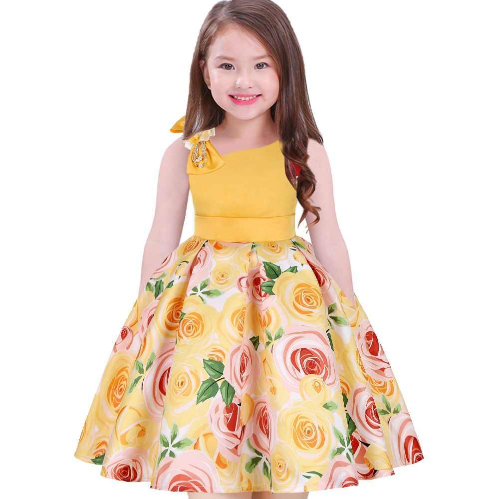 Платье с цветочным принтом для девочек рождественское платье с большим бантом для девочек Детские платья для девочек, праздничное платье принцессы, платье fille на одно плечо