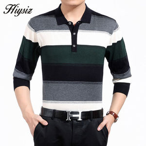 Image 4 - High Quality Cashmere Wool Sweater Men Famous Brand Clothing  Business Fashion Big Striped Turn down Collar Pullover Homme 66127