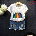 Cute baby girls cotton rainbow umbrella t shirt bead denim short set kids summer clothes children's casual clothing 16N1224
