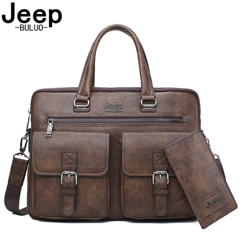 JEEP BULUO Famous Brand Business Briefcase Bag2pcs/set Split Leather Shoulder Bag Men Office Bags For 13 Inch Laptop A4 Causel