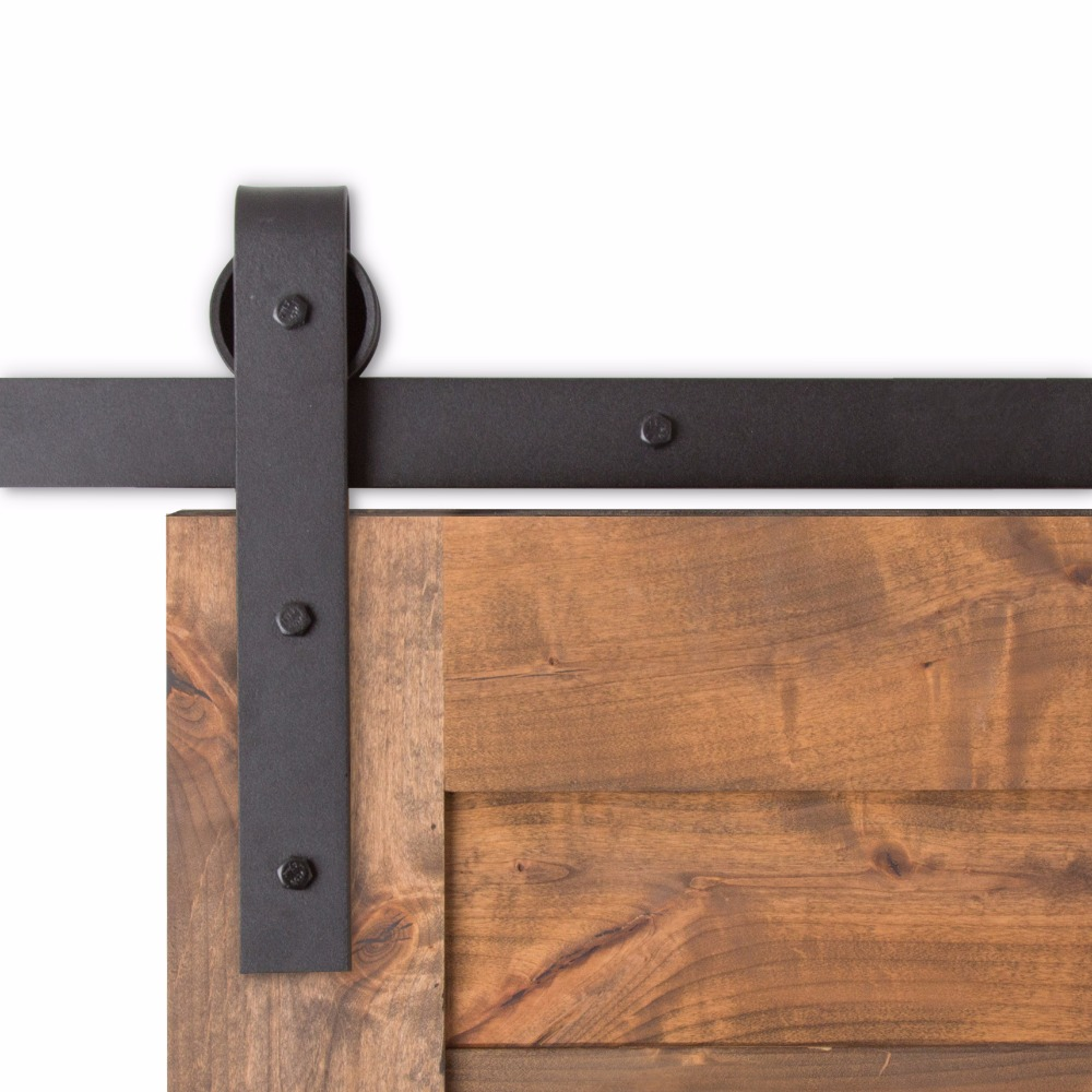 Black antique style steel single sliding barn rustic wood for Single sliding barn door