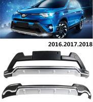 Авто бампера для TOYOTA RAV4 2016.2017.2018 спереди + задний бампер пластина ремень светодиодный DRL высокое качество автомобильные аксессуары