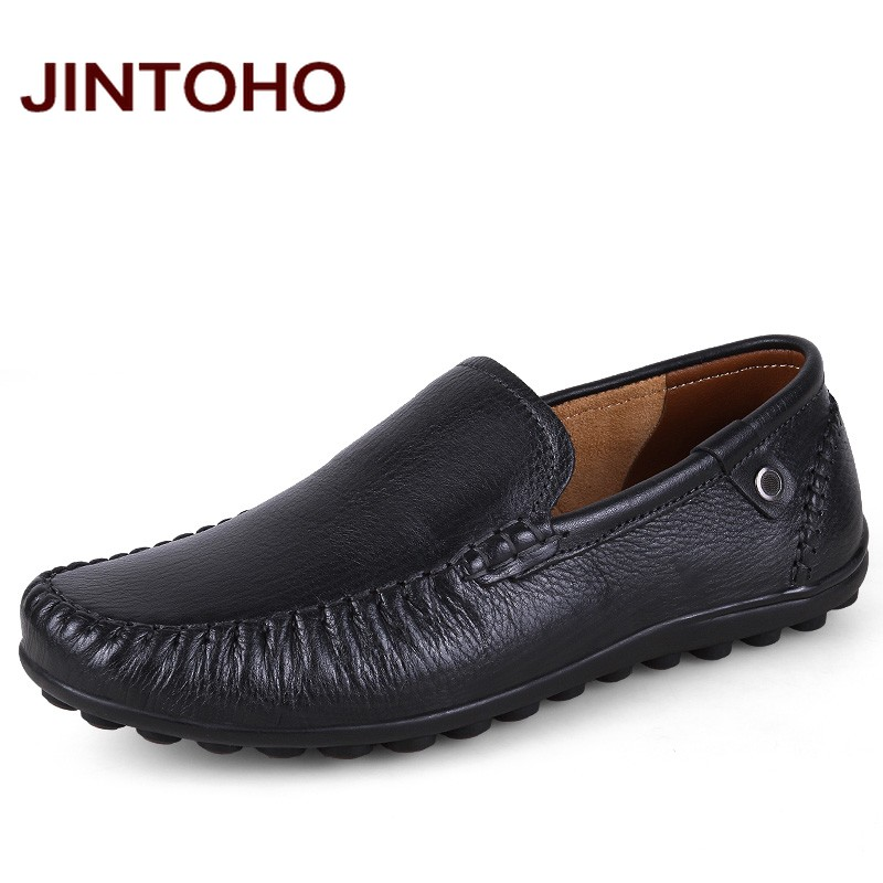 JINTOHO big size 38-47 mens genuine leather formal shoes luxury brand italian dress shoes for men slip on men loafers mocassin