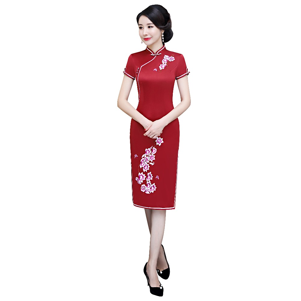 Shanghai Story rouge Qipao fleur broderie chinois traditionnel robe à manches courtes genou longueur cheongsam chinois robe